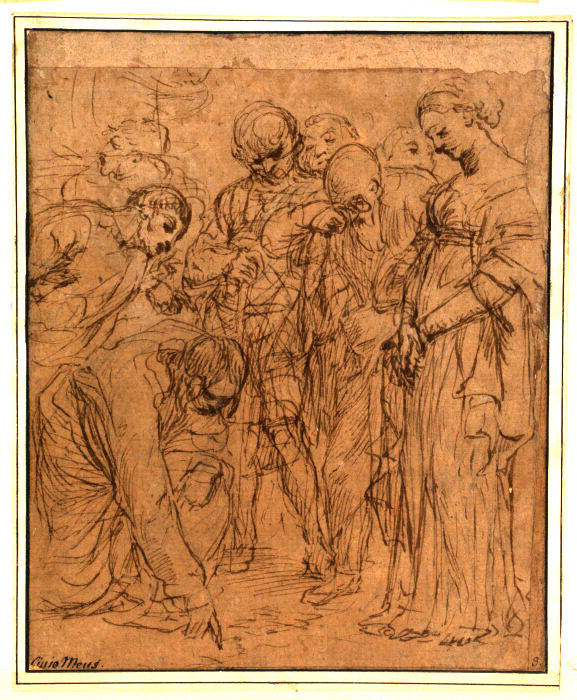 17 Mehus Woman taken in adultery 17th century Mehus, Lieven more Pen and ink, graphite on paper (light buff) Height: 23.9 cm; Width: 19.1 cm Acquisition Witt, Robert Clermont (Sir); bequest; 1952 D.1952.RW.1992 Copyright: © Courtauld Institute of Art Gallery, London